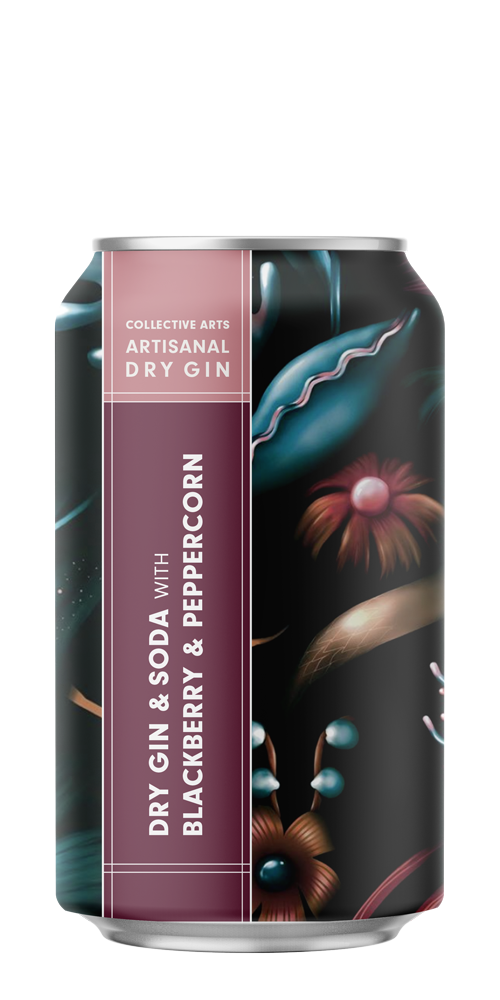 Dry Gin & Soda with Blackberry & Peppercorn beer can