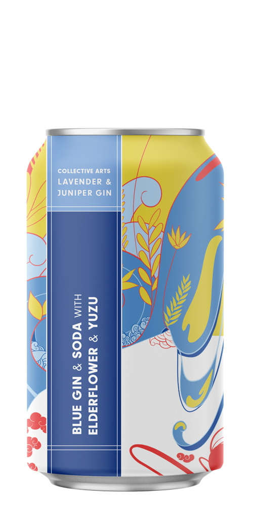 Blue Gin & Soda with Elderflower & Yuzu beer can